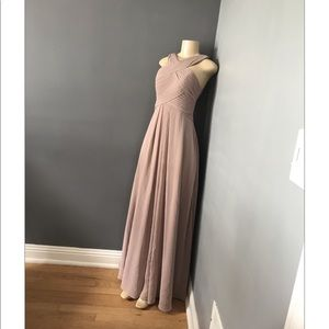 Bridesmaid champagne chiffon dress size A4